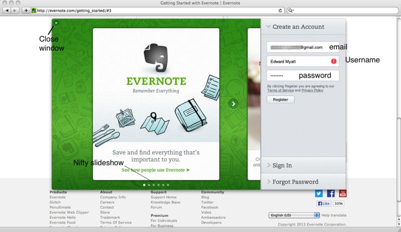 Create evernote account